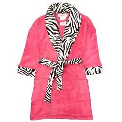 Plush Bathrobe with Zebra Trim