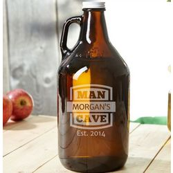 Man Cave Brown Personalized Beer Growler