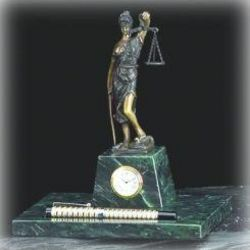 Lady Justice Clock with Pen Holder