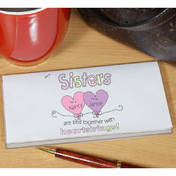 Heart Strings Sisters Personalized Checkbook Cover