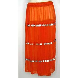 Orange Sheer Chiffon Belly Dancing Skirt with Coins