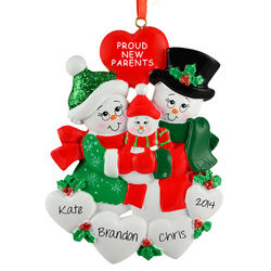 Personalized Snow Family Proud New Parents Ornament