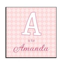 Pink Alphabet Argyle Art Panel