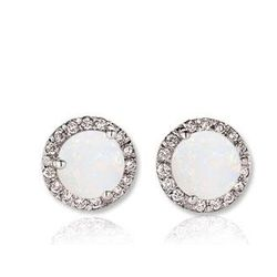 14k White Gold Round Opal Diamond Stud Earrings