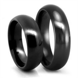 Classic Comfort Fit Black Titanium Wedding Bands Set