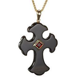14k Gold Garnet and Black Onyx Cross Pendant