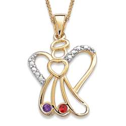 Gold Sister's Angel Necklace with Two Birthstones