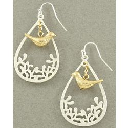 French Style Bird Dangle Earrings in Silver with Gold Bird