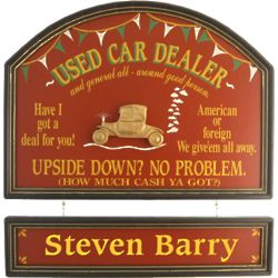 Used Car Dealer's Personalized Pub Sign