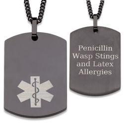 Black Stainless Steel Medical Alert Engraved Dog Tag
