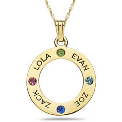 Personalized Gemstone Engraveable Circle Pendant