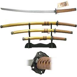 3 Piece Gold Samurai Sword Set with Wood Scabbard
