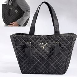 Knotted Couture Monogrammed Quilted Tote Bag
