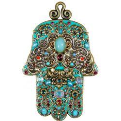 Turquoise Beaded Hamsa Plaque