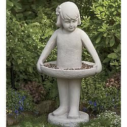 Little Girl Birdfeeder Statue
