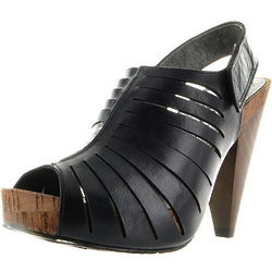 Black Leather Wood Sole Shoes