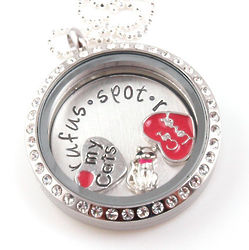 Personalized Hand Stamped Cat Lover Floating Glass Locket
