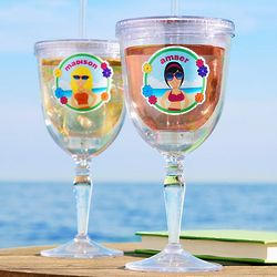 Personalized Beach Babes Insulated Wine Tumbler