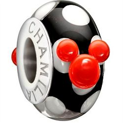 Walt Disney's Mickey Mouse Murano Glass Bead in Sterling Silver