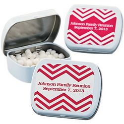 Red Chevron Personalized Mint Tins