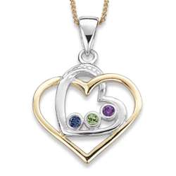 Sterling Silver Sisters Heart Necklace with Three Birthstones