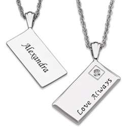 Love Always Engraved Envelope Necklace with Diamond Accent