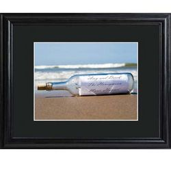 Personalized Message in a Bottle Print in Wooden Frame