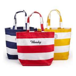 Personalized Rugby Striped Tote