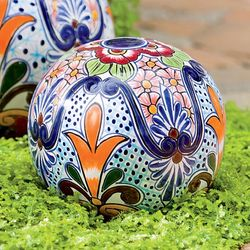Handmade Talavera-Inspired Small Ceramic Globe
