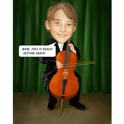 Cellist Personalized Caricature Print