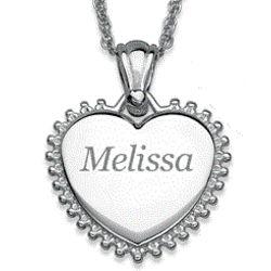 Silver Plated Sunburst Framed Name Heart Necklace