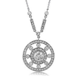 Cubic Zirconia and Sterling Silver Round Pendant