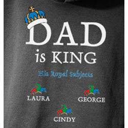 Personalized Dad is King Black Sweatshirt