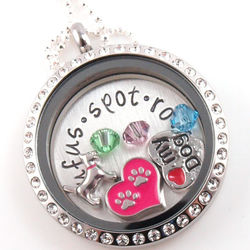 Dog Lover Floating Glass Locket Personalized Stamped Necklace