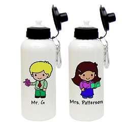 Custom Character Teacher Aluminum Water Bottle