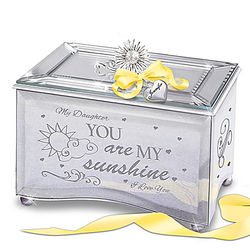 Daughter's Mirrored Music Box for with Personalized Heart Charm