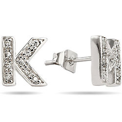 Sterling Silver Cubic Zirconia Initial Earrings
