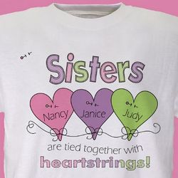 Heart Strings Personalized Sisters T-Shirt