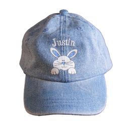 Personalized Denim Bunny Baseball Cap