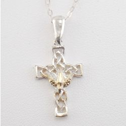 Open Celtic Cross with Gold Inlay Dove Necklace