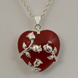 Red Jade Heart with Silvertone Trailing Rose Necklace