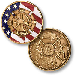 Fire and Rescue Maltese Cross and Flag Coin