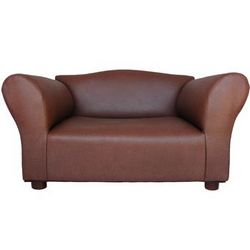 Brown Leatherette Mini Sofa for Pets