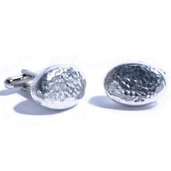 Tin Oval Cufflinks