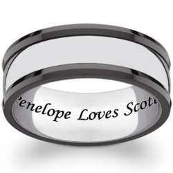 Men's Stainless Steel and Ceramic Engraved Message Band