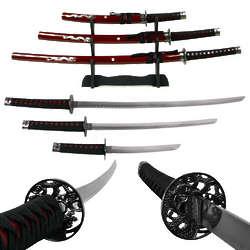 Deluxe Red Dragon Katana Samurai Sword Set with Stand