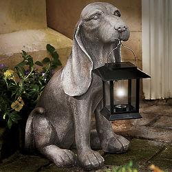 Hound Dog Statue with Solar Lantern