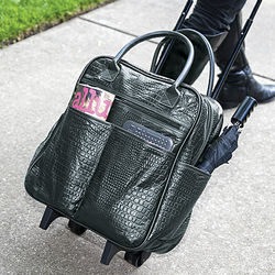 Croc Embossed Black Leather Rolling Tote Bag