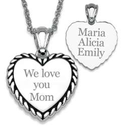 Silver Plated We Love You Mother's Rope Framed Heart Necklace