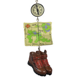 Personalized Hiking Map and Boots Dangle Ornament